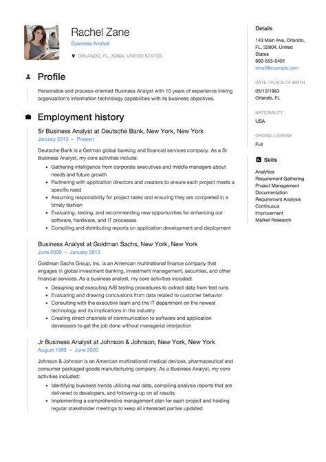 resume for entry level data analyst business analyst resume example