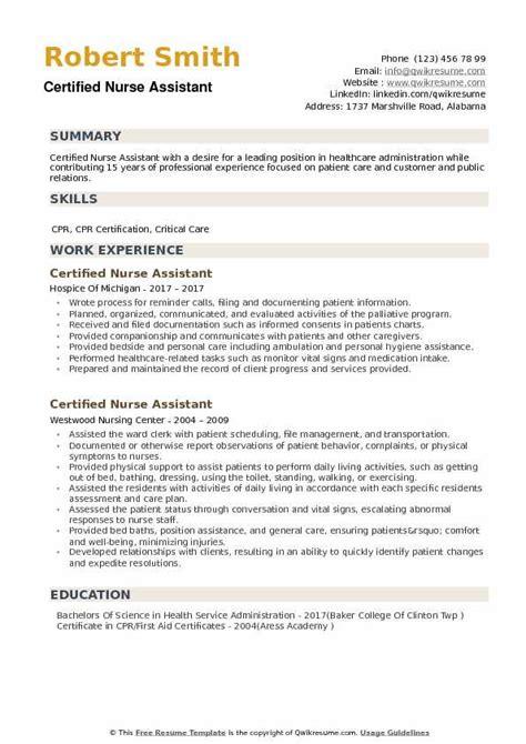 Resume For Nursing School Objective Certified Nursing Assistant Resume Sample
