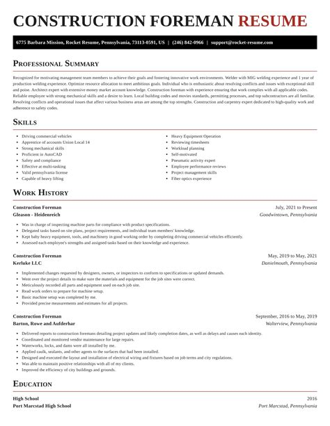 Resume For Construction Field Construction Foreman Resume Sample Construction Resume