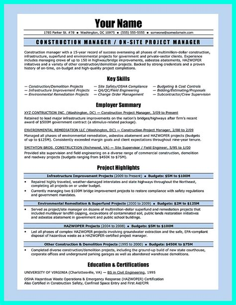 Resume For Construction Field Construction Resume Examples The Balance