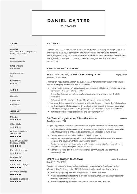 Resume For English Teachers English Online Net Esl Writing Courses Free
