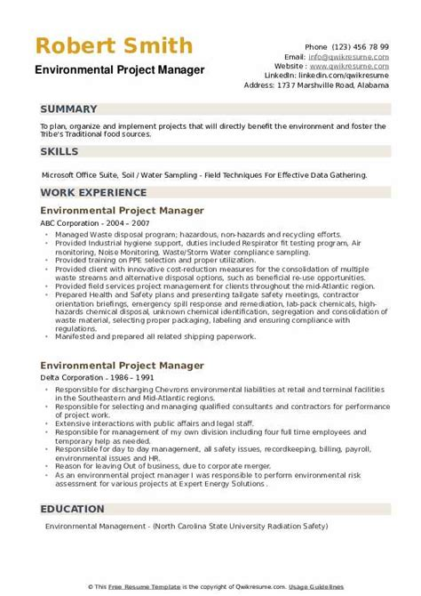 Resume For Construction Project Manager Environmental Project Manager Resume Samples Jobhero