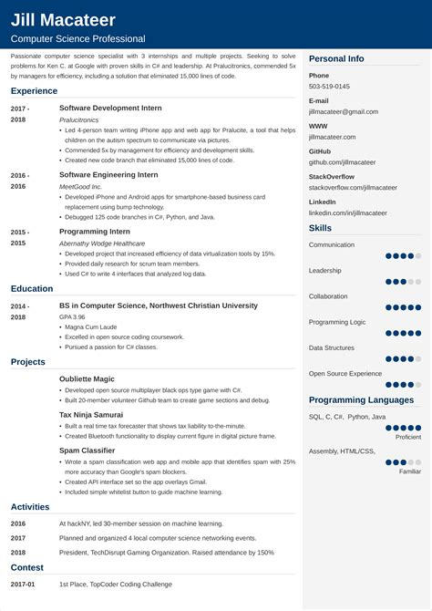 resume for computer science student pdf free computer science student resume for doc pdf - Computer Science Student Resume
