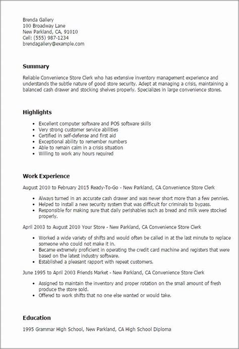 resume for a grocery store