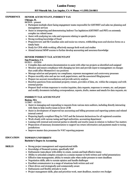 Resume For Indirect Tax Resume Samples Indirect Tax Resume For Indirect Tax Example Good Resume Template