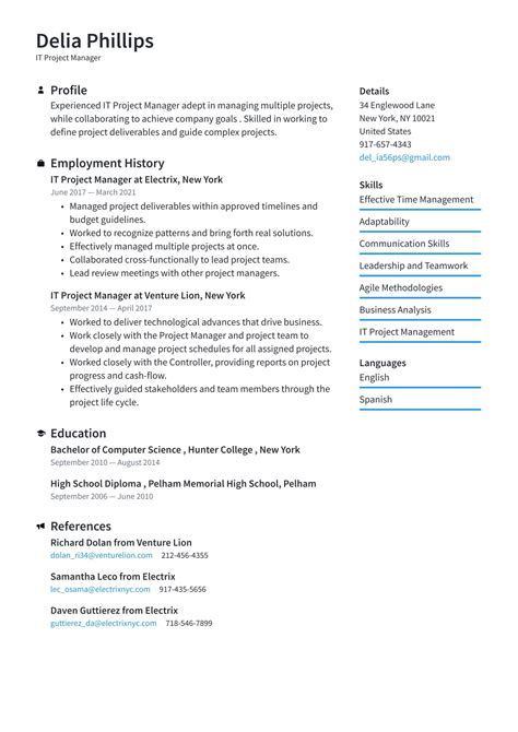 Resume For Construction Project Manager It Project Manager Resume Example