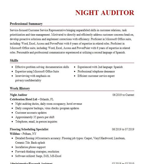 resume for hotel night manager resume format of software testing