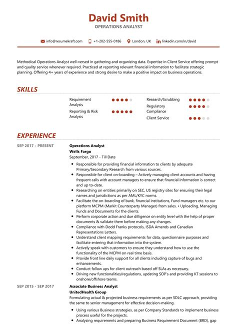 Resume For Business Operations Analyst Operations Analyst Resume Samples Jobhero