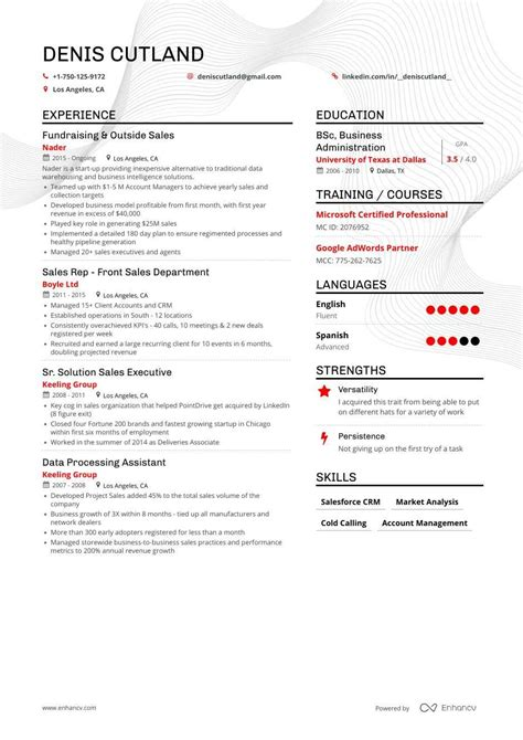 resume for outside sales rep   cv template doctor - Outside Sales Resume Examples
