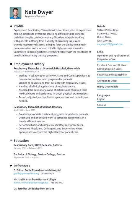 resume for respiratory therapist respiratory therapist resume sample careerjimmy