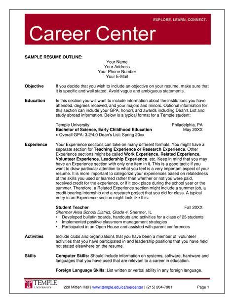 resume for job outline resume outline