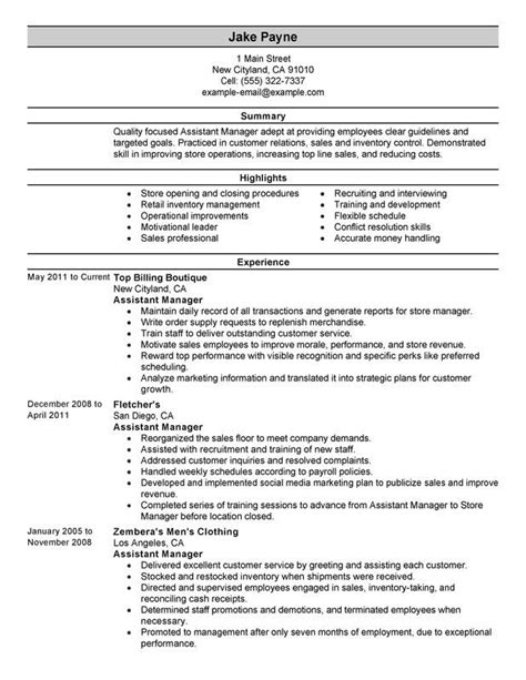 Resume For Assistant Manager Retail Retail Assistant Manager Resume Template Dayjob