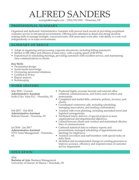 Resume For Administrative Assistant In A Bank Sample Administrative Assistant Resume And Tips