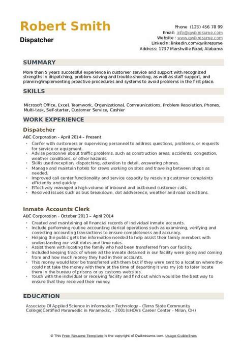 resume for maintenance dispatcher dispatcher resume example a mobile maintenance