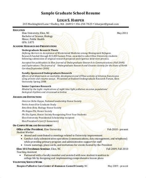 Resume For Graduate School Examples Sample Graduate School Resume L S H Elon University