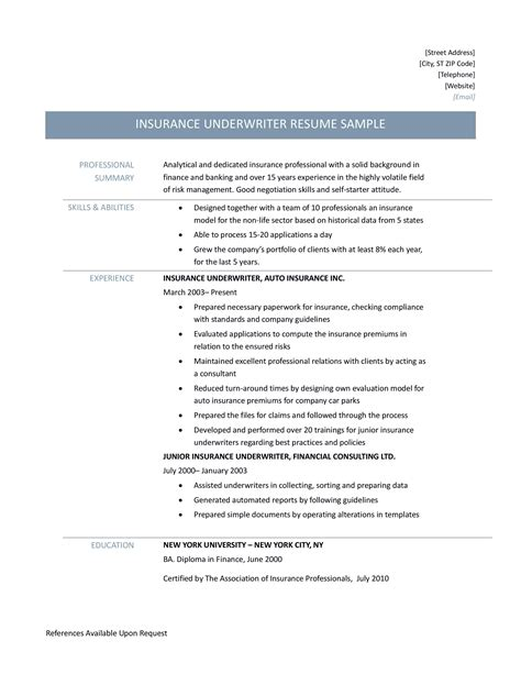 Resume For Underwriter Sample Insurance Underwriter Resume Cvtips