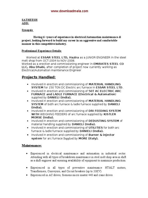 Resume Format For Experienced Electrical Engineers 3 Electrical Engineer Resume Samples Examples Download Now