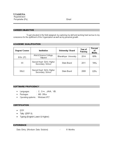 Resume Format For Freshers Engineers India 8 Freshers Resume Samples Examples Download Now