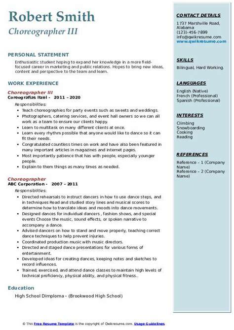 resume format for dance choreographer choreographer sample resume cvtips - Choreographers Sample Resume