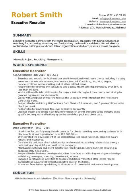 Resume Format For Recruitment Executive Executive Recruiter Resume Samples Jobhero