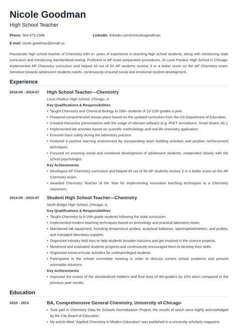 Resume Format For A Teacher Job High School Teacher Resume Example Resume And Cover