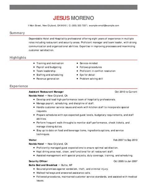Resume Format Hospitality Industry Hospitality Resume Samples Resumes For The Hospitality