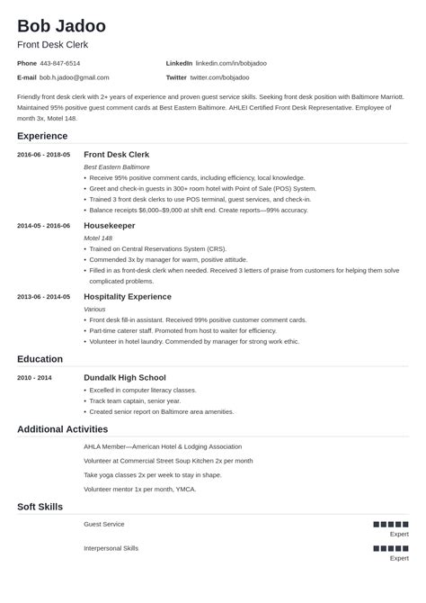 resume format hospitality industry example of how to write a cv