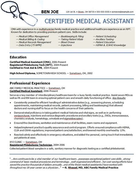 Resume Format Medical Assistant Medical Assistant Resume Samples And Objective Statements