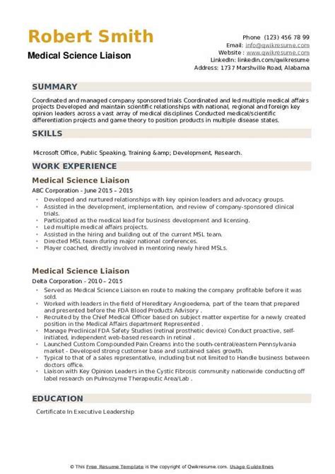 Resume Format For Medical Lab Technician Medical Science Liaison Resume Samples Jobhero