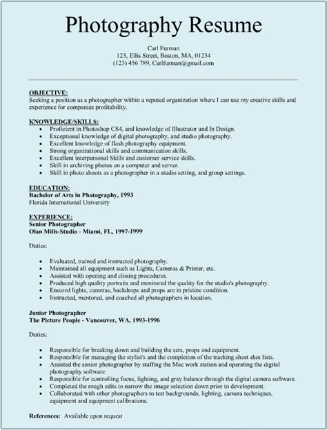 resume format for professional photographer photographer resume templates