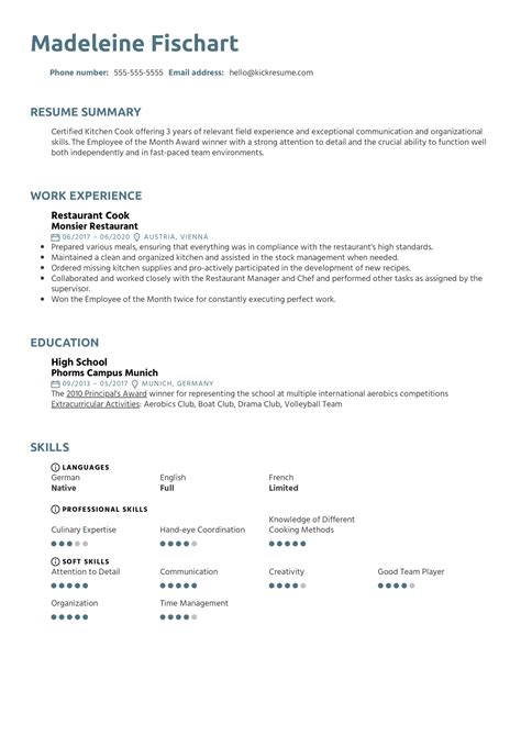 resume format sample for fast food crew restaurant cook resume sample with summary and