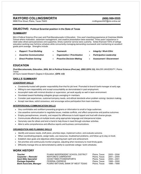 resume categories