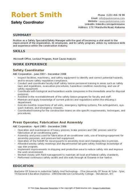 Resume Format For Coordinator Jobs Safety Coordinator Resume Example