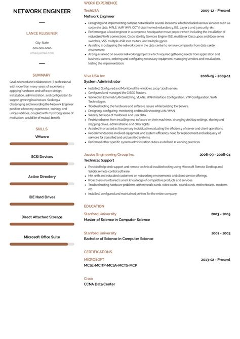 resume format for network engineer sample network engineer resume 1 free resume builder - Resume Format Network Engineer