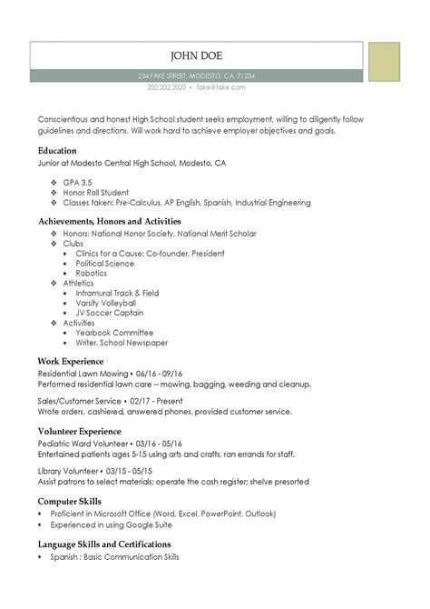 Resume Generator For High School Students High School Resumes Resume Builder For High School Students