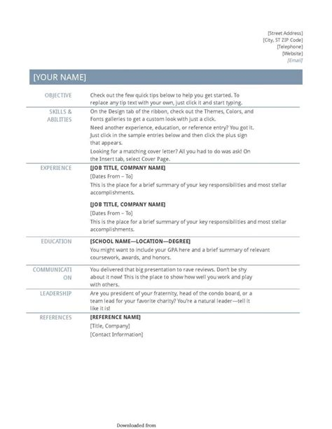 Resume Guidelines Tips General Resume Guidelines University Of The Pacific
