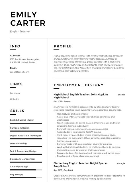 resume in english examples it english teacher resume template cv examples teaching