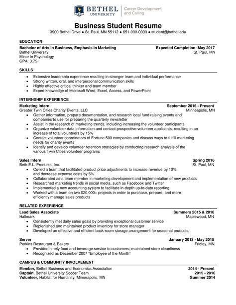 Resume International Student Business Student Resume Example International