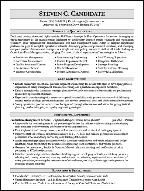 resume introduction paragraph example product manufacturing resume example