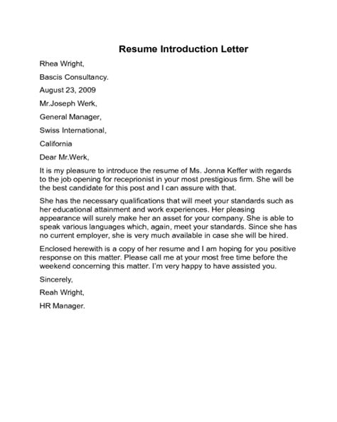 resume introduction paragraph example sample letter for resume introduction - Resume Introduction