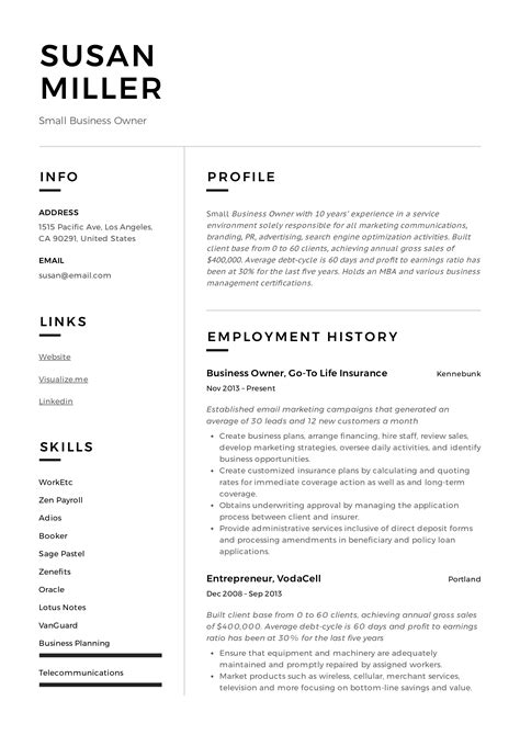 resume job description for small business owner small business owner job description example job - Small Business Owner Resume