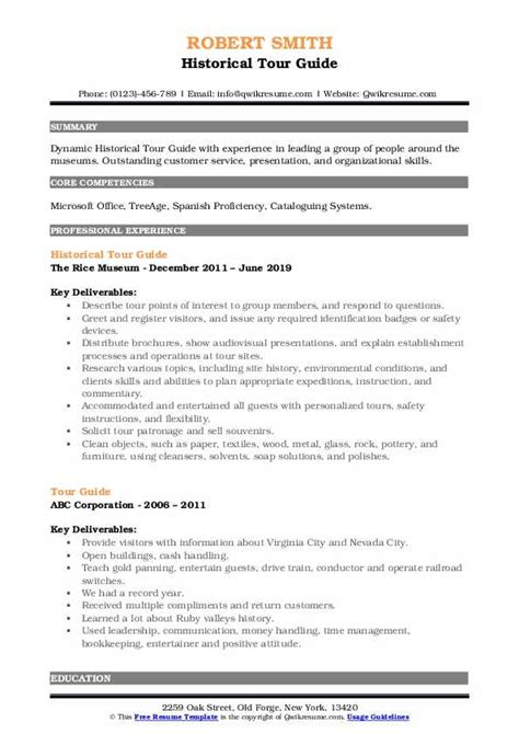 resume museum guide tour guide resume sample travel and tourism resumes