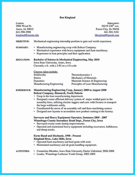 resume objective examples mechanical engineering