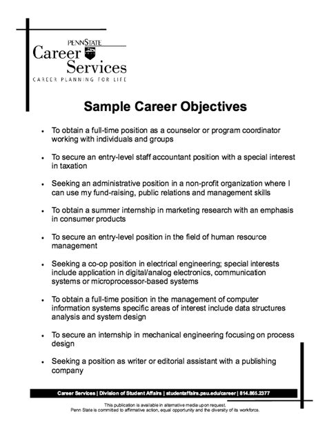 resume objective for school counselor career kids