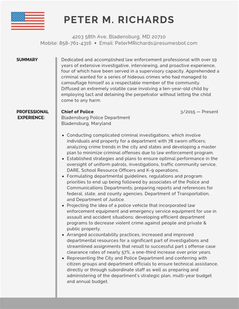 resume objective law enforcement examples police chief resume objective examples
