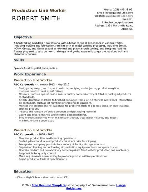 Resume Objective Utility Worker Cover Letter For Fresh Graduates - Production worker cover letter