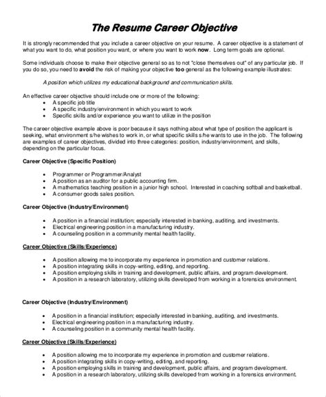 resume objective examples general template business plan template