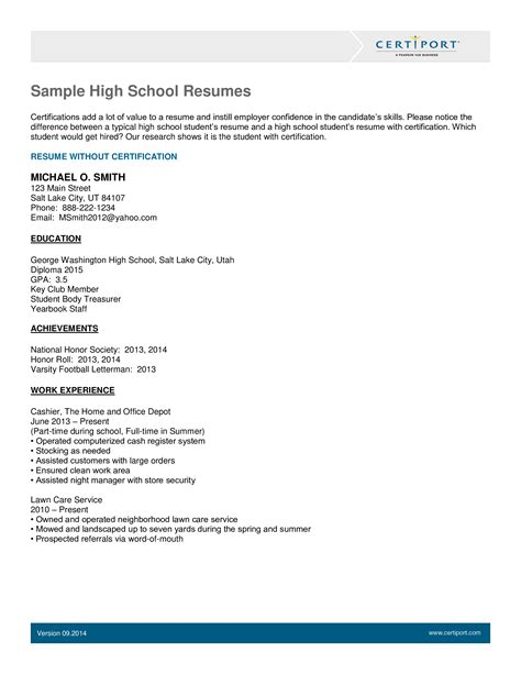 Resume Of High School Years High School Student Resume Example And Writing Tips
