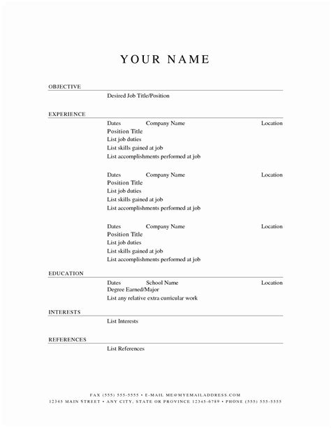 Resume Outline No Job Experience Printable Basic Resume Template With Outline Blank Form
