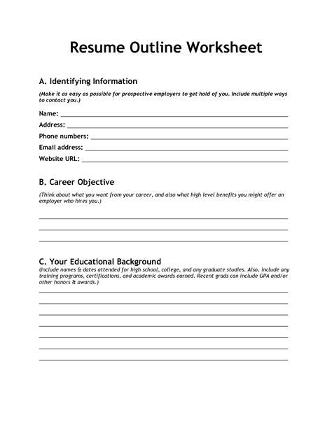 resume outline resume outline worksheet